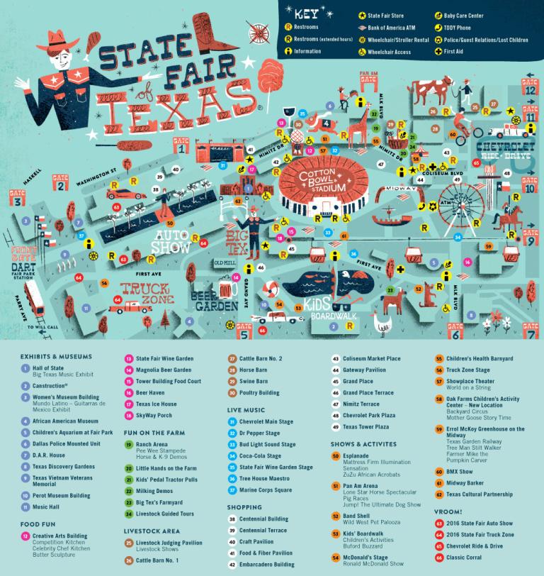 Fairgrounds Map, Texas State Fair
