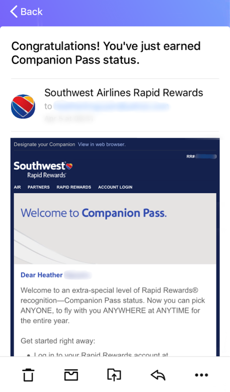 Email from Southwest Airlines