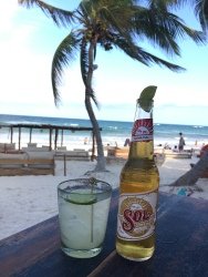 Tasty beverages on the beach